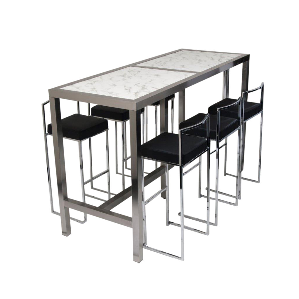 High Table With Stools: High Bar Table & 6 Stools Black (Set