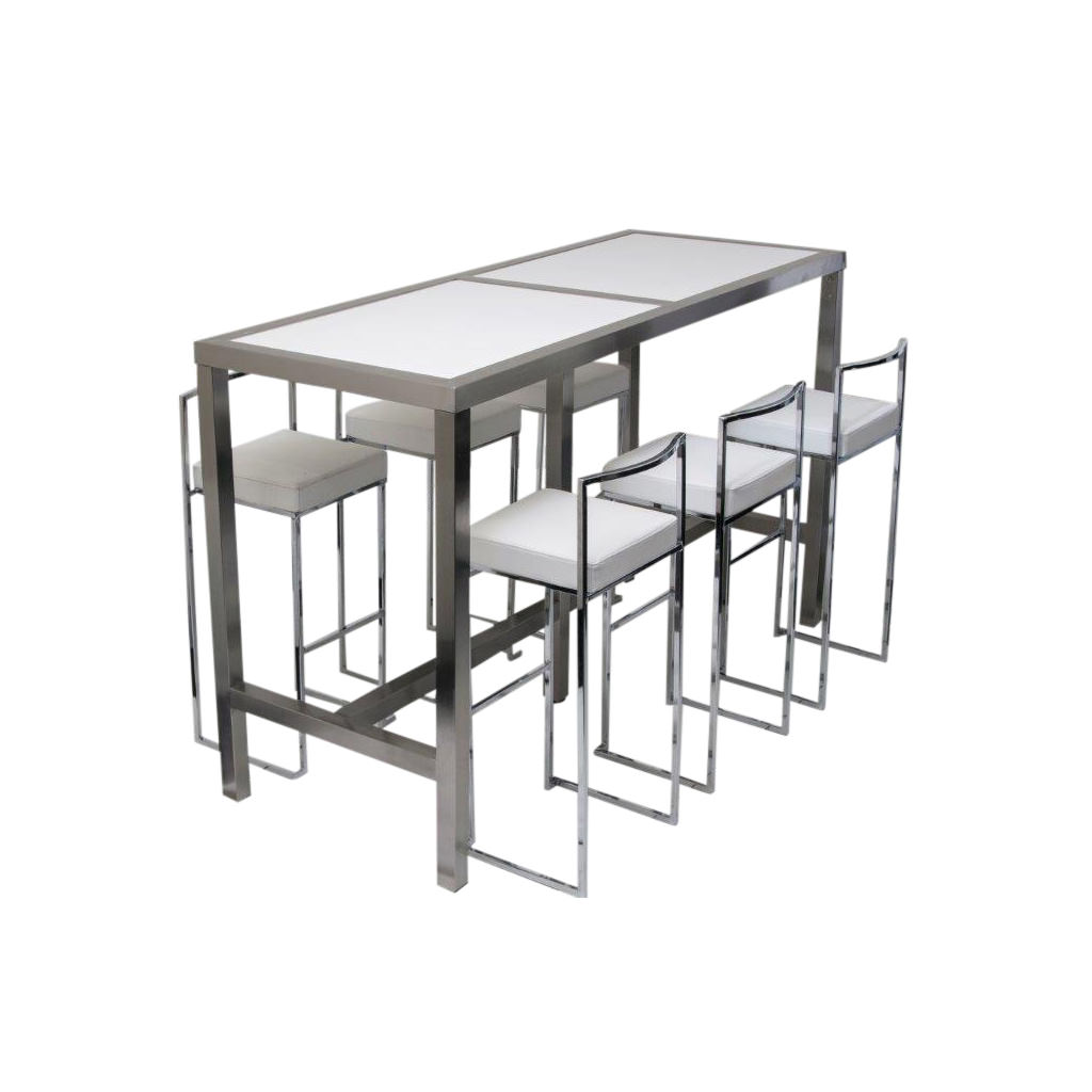 High Table With Stools: High Bar Table & 6 Stools White (Set